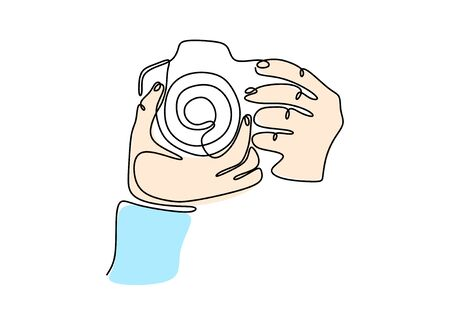 Continuous one line drawing of taking picture with dslr camera.