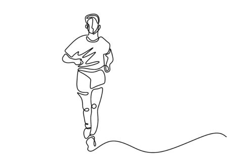 Continuous line drawing of Runner man. People run when doing action sport or jogging. Stockfoto - 134323324