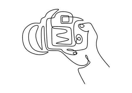 Continuous one line drawing of finger holding digital single-lens reflex camera for professional photographer and videographer. Minimalism design vector illustration with simplicity style.
