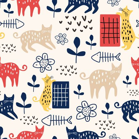 Trendy cute cat seamless pattern with animal and flowers plant nursery. Vector illustration hand drawn childish drawing scandinavian style for fashion textile print.