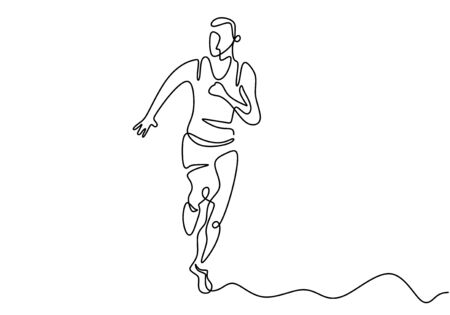 Continuous line drawing of Runner man. People run when doing action sport or jogging.