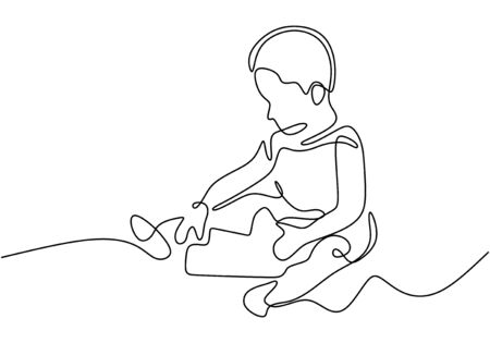 Continuous one line drawing of kids playing toys minimalism design.