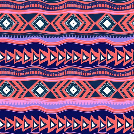 Seamless vintage pattern. Geometric stripes texture. Ethnic and tribal motifs. Peruvian, asian, and african culture trendy.