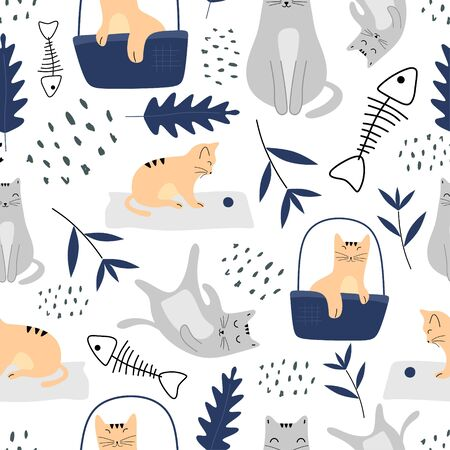 Cute cats seamless pattern with funny animal pastel colors. Vector illustration hand drawn childish drawing scandinavian style for fashion textile print. Ilustracja
