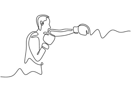 One line drawing of boxing vector. Boxer or fighter make a beat punch with hand. Sport game athlete theme.