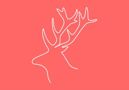 Continuous one line drawing of deer or reindeer head of animal winter. Christmas theme good for emblem, tattoo, or sign and symbol with minimalistic style.