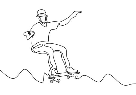 one continuous drawn line skateboard drawn by hand picture silhouette. Line art vector sketch single handdrawn. Minimalism design. Ilustracja