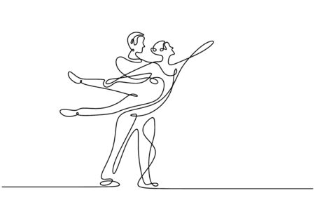 Couple dancing with continuous line drawing minimalism design. Vector one hand drawn sketch lineart minimalist style of man and woman or girl dance.