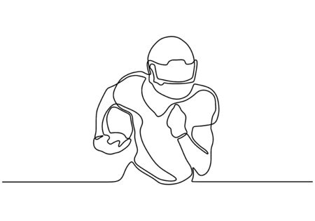 Continuous one line drawing of american football or soccer player Ilustracja