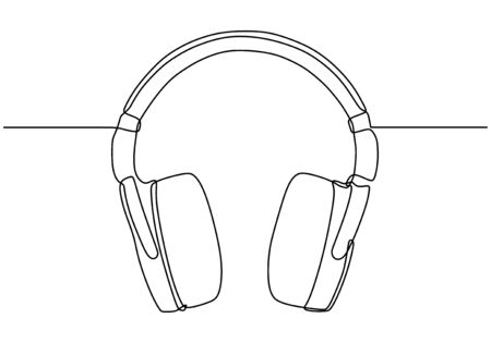 Continuous one line drawing of headphone for listening music.