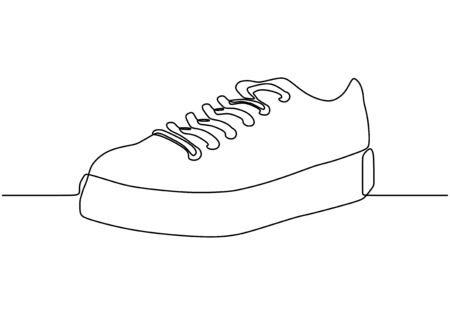 Continuous one line drawing of sneakers shoe Çizim
