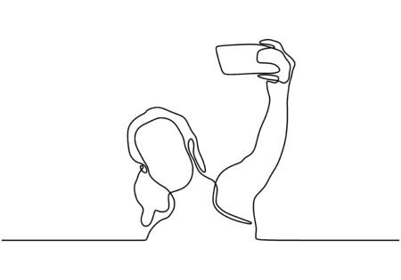 Continuous one line drawing of selfie girl vector. Woman or person taking a picture with her smartphone or mobile phone. Minimalist design minimalism style illustration isolated on white background.