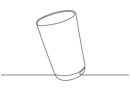Continuous one line drawing of glass for drinking Ilustracja
