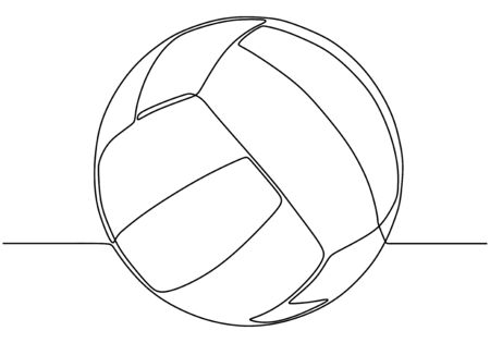Continuous one line drawing of volley ball Ilustracja