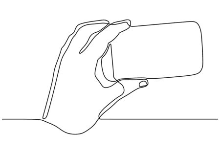 Continuous one line drawing of hand holding smartphone