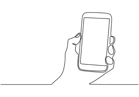 Continuous one line drawing of cell phone or smartphone. Hand holding mobilephone.