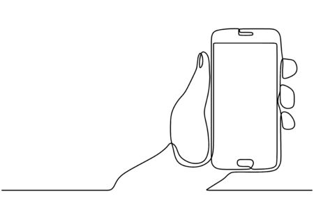 Continuous one line drawing cell phone in his hand vector. Mobilephone or smartphone object minimalist design illustration with simplicity design.