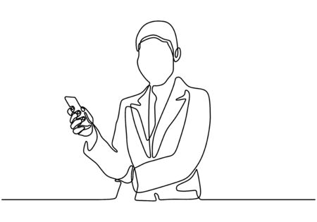 Continuous one line drawing of businesswoman holding smartphone or cell phone. Portrait of girl standing. Ilustracja