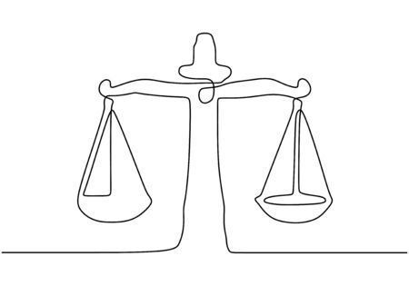 Continuous one line drawing of libra. Vector law business symbol of weight balance.