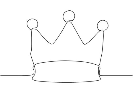 Continuous one line drawing of crown symbol of king and majesty