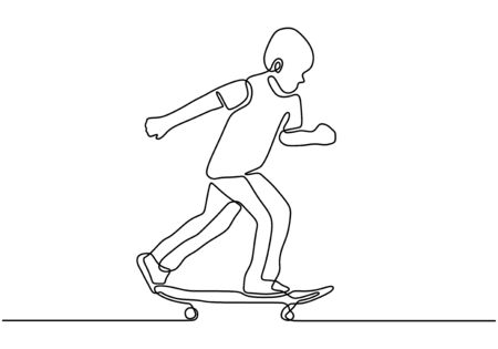 Continuous one line drawing of skateboard player. Sport vector illustration theme. Person playing game for exercise and hobby isolated on white background.