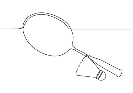 Continuous one line drawing of badminton game tools. Racket, and cock objects vector minimalism design for sport theme design.