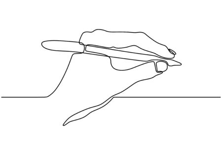 Continuous one line drawing of hand writing holding an ink pen or pencil. Minimalism design vector isolated on white background. Stok Fotoğraf - 134704804