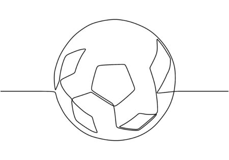 Continuous one line drawing of football ball minimalism design 写真素材 - 135120792