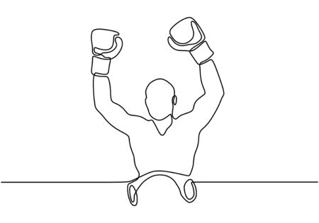 Continuous one line drawing of boxer raising his hands after winning a championship. Person as a winner. Athlete concept vector isolated on white background. Archivio Fotografico - 134588929