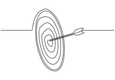 Continuous one line drawing of arrow on target circle.