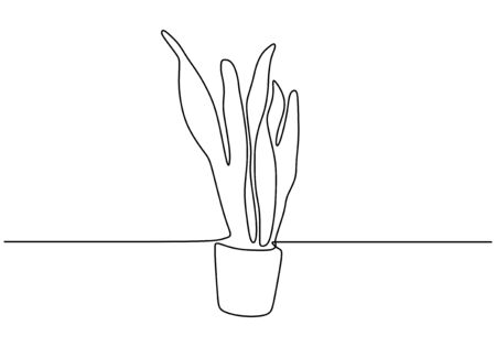 Continuous one line drawing of succulent plant minimalism design. Plant on the pot.