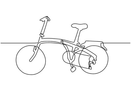 Continuous one line drawing of sporty bicycle or bike minimalism object. Vector sport theme. Banco de Imagens - 135120916