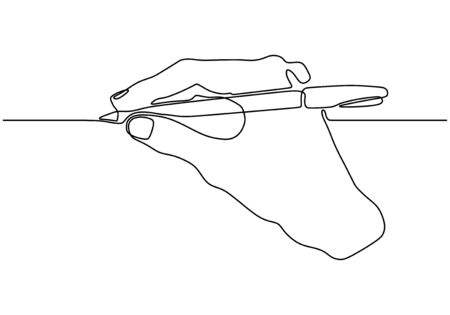 Continuous one line drawing of hand writing holding an ink pen or pencil. Minimalism design vector isolated on white background.