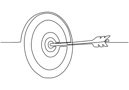 Continuous one line drawing of arrow on target circle. Vetores