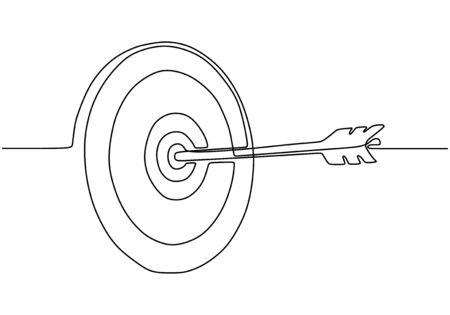 Kontinuierliche einzeilige Zeichnung des Pfeils auf dem Zielkreis. Vektorgrafik