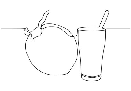 Continuous one line drawing of coconut drink. Cocktail concept for summer beach party or vacation.