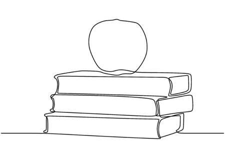 Continuous one line drawing of book with apple vector. Concept of study and education symbol object design. Ilustração