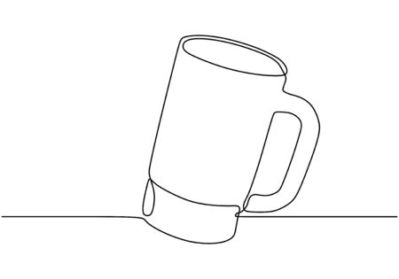 Continuous one line drawing of mug glass for drinking.