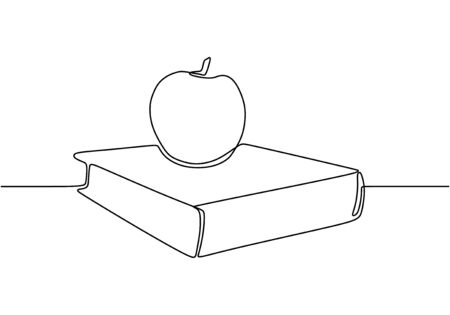 Continuous one line drawing of book with apple vector. Concept of study and education symbol object design. 写真素材 - 135120887
