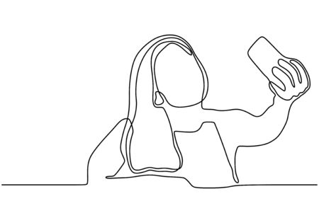 Continuous one line drawing of selfie girl vector. Woman or person taking a picture with her smartphone or mobile phone. Minimalist design minimalism style illustration isolated on white background. 写真素材 - 135120880