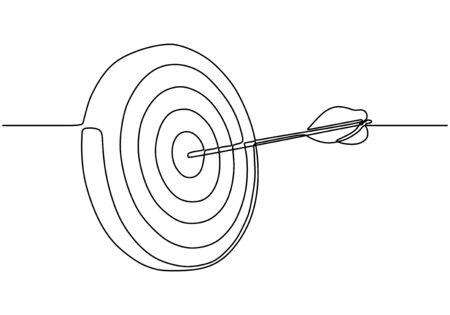 Kontinuierliche einzeilige Zeichnung eines Pfeils, der aus einer Ziel-Dartscheibe herausragt.