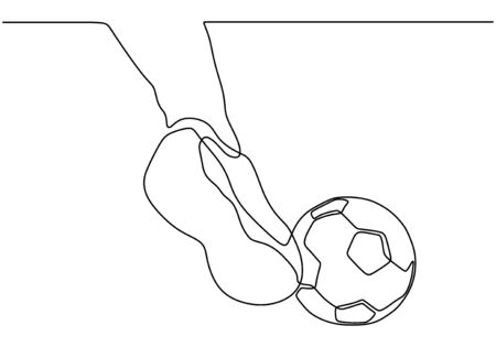 Continuous one line drawing of kicking a ball. Football game sport theme design vector minimalism illustration sketch hand drawn. Banco de Imagens - 135120904