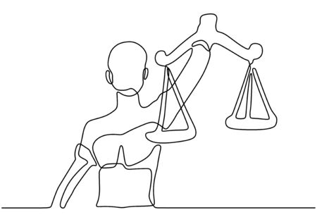 Continuous one line drawing of libra. Vector law business symbol of weight balance. Banco de Imagens - 135120869