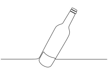 Continuous one line drawing of wine bottle