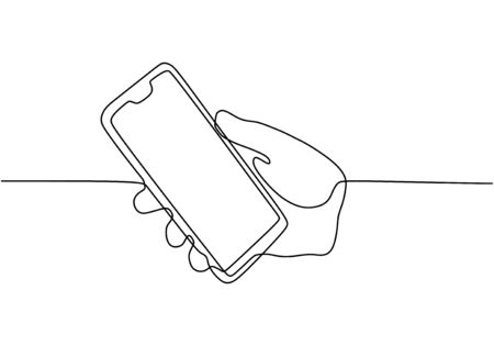 Continuous one line drawing cell phone in his hand vector. Mobilephone or smartphone object minimalist design illustration with simplicity design. 写真素材 - 135120872