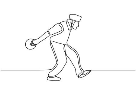 Person throwing a bowling ball to make a strike continuous one line drawing. Vector sport game player.