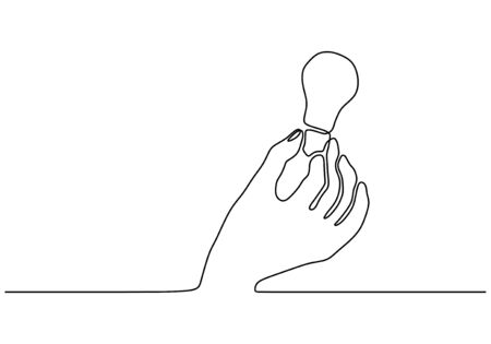 Continuous one line drawing of hand with light bulb lamp symbol of idea Banco de Imagens - 135120826