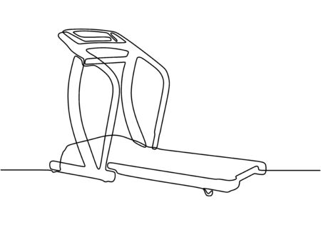 Continuous one line drawing of tredmill machine. Tools for fitness and gym sport theme design vector.