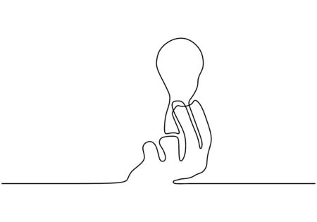Continuous one line drawing of hand with light bulb lamp symbol of idea