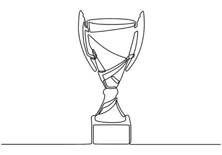 Continuous one line drawing of trophy vector. Concept of winner. 写真素材 - 135120827